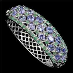 Natural Blue Violet Tanzanite & Emerald Bangle