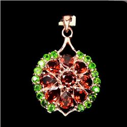 Natural Mozambique Garnet Chrome Diopside Pendant