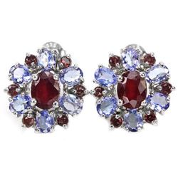 Natural RUBY RHODOLITE GARNET TANZANITE Earrings