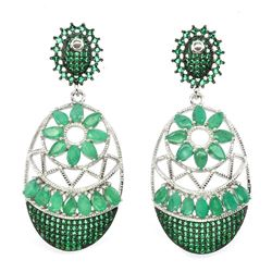 Natural Columbian Top Green Emerald Earrings