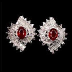 Genuine  Oval Cut 7x5 mm Top Blood Red Ruby Earrings