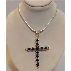 BEAUTIFUL 10.75 NATURAL BLUE SAPPHIRE CROSS PENDANT