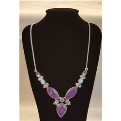 BEAUTIFUL ARIZONA LAVENDER TURQUOISE COPPER  NECKLACE.