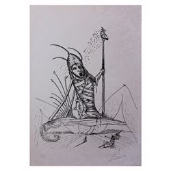 "Salvador Dali- Original Lithograph from Gouache and Collage ""Les Songes Drolatiques de Pantagruel"""