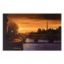 """Howard Behrens (1933-2014) - """"Twilight on the Seine II"""" Limited Edition Hand Embellished Giclee on C"""