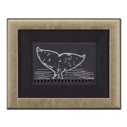 """Wyland - """"Whale Tail"""" Framed Original Sketch, Hand Signed with Certificate of Authenticity."""