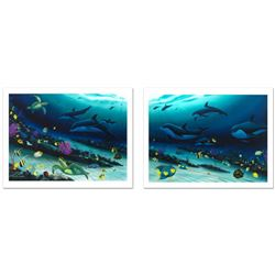 """Radiant Reef"" Limited Edition Giclee Diptych on Canvas (35"" x 26"") by Wyland, Numbered and Hand Sig"