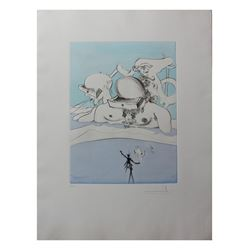 "Salvador Dali- Hand Colored Original Etching ""Flung Out Like a Fag-End by the Big-Wigs"""