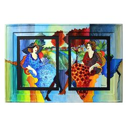 "Patricia Govezensky- Original Watercolors with Hand Painted Frame ""Suzzane and Erica"""