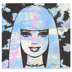 "Gail Rodgers - ""Barbie"" One-of-a-Kind Hand-Pulled Silkscreen and Acrylic Painting on Canvas, Hand Si"