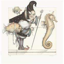 "Michael Parkes ""Collector - The Seahorse Collector"" Original Hand Pulled Stone Lithographs"