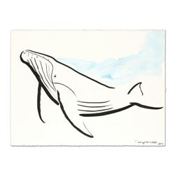 "Wyland, ""Humpback with Splash"" Original Sumi Ink Painting, Hand Signed with Certificate of Authentic"