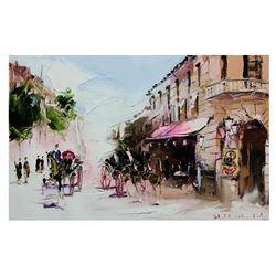 "Shalva Phachoshvili- Original Oil on Canvas ""Dark Street"""