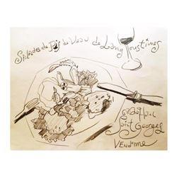 "Wayne Ensrud ""Salade Ris de Veau et Langoustines"" Pastel Original Artwork; Hand Signed; COA"