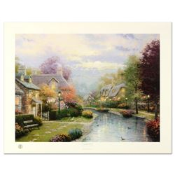 """Thomas Kinkade (1958-2012), """"Lamplight Brooke"""" Limited Edition Offset Lithograph, Numbered and Hand"""