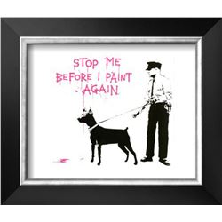 "Banksy ""Stop me before I paint again"" Cusom Framed"