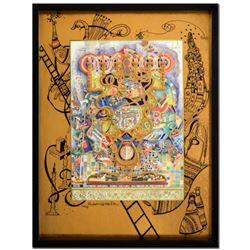 """Raphael Abecassis """"Menorah"""" Limited Edition 3-Layer Decoupage, Numbered and Hand Signed with Certifi"""