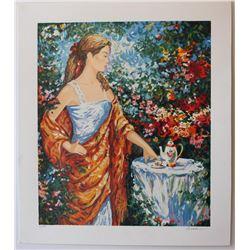 "Igor Semeko- Set of 5 Serigraph on Paper ""Tea Time, Peaceful Moments, After the Rain, Sisters, Beaut"