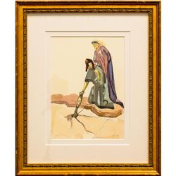 "Salvador Dali- Original Color Woodcut on B.F.K. Rives Paper ""Inferno 32"""