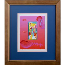 """Peter Max- Original Mixed Media """"Angel With Heart"""""""