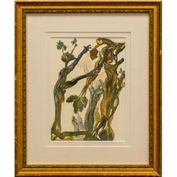 "Salvador Dali- Original Color Woodcut on B.F.K. Rives Paper ""Inferno 13"""