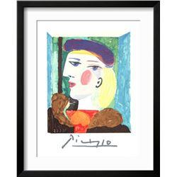"Pablo Picasso ""Femme Profile"" Custom Framed Lithograph"
