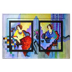 "Patricia Govezensky- Original Watercolors with Hand Painted Frame ""Sisters at Breakfast"""