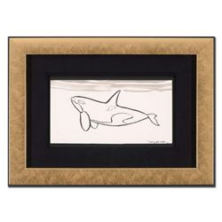 "Wyland - ""Orca"" Framed Original Sketch, Hand Signed with Certificate of Authenticity."