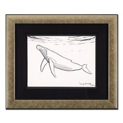 """Wyland - """"Humpback Whale"""" Framed Original Sketch, Hand Signed with Certificate of Authenticity."""