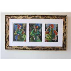 "Patricia Govezensky- Original pastel color on paper ""Love Green"""