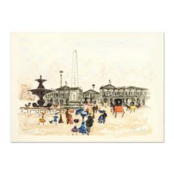 """Urbain Huchet, """"Place Concord"""" Limited Edition Lithograph, Numbered and Hand Signed."""