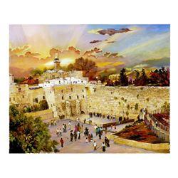 "Zina Rothman- Original Mixed Media on Canvas ""Sunrise on the Kotel """