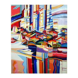 """Natalie Rozenbaum, """"Colorful Harbor"""" Limited Edition on Canvas, Numbered and Hand Signed with Letter"""
