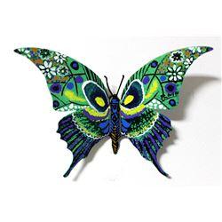 "Patricia Govezensky- Original Painting on Cutout Steel ""Butterfly CXXVII"""