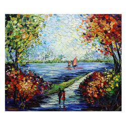 "Svyatoslav Shyrochuk- Original Oil on Canvas ""Riverside Date"""