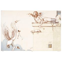 """Michael Parkes """"The Key"""" Original Hand Pulled Stone Lithographs"""