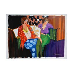 """Itzchak Tarkay (1935-2012) - """"Brief Respite"""" One-of-a-Kind Over Paint on Canvas, Hand Signed with Ce"""