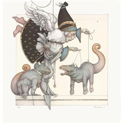 """Michael Parkes """"Collector - The Puppet Collector"""" Original Hand Pulled Stone Lithographs"""