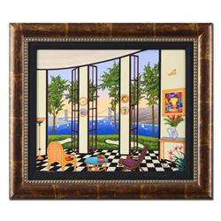 """Fanch Ledan - """"Black and White Interior"""" Framed Limited Edition Serigraph on Canvas, Numbered Invers"""