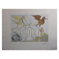 """Salvador Dali- Original Engravings with color by pochoir """"L'aeroplane """""""