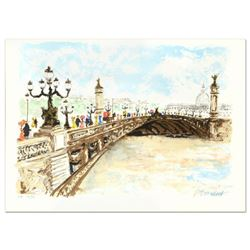 """Urbain Huchet, """"Bridge"""" Limited Edition Lithograph, Numbered and Hand Signed."""