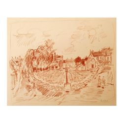"Wayne Ensrud ""Domaine de la Romanee-Conti, Burgundy"" Pastel Original Artwork; Hand Signed; COA"