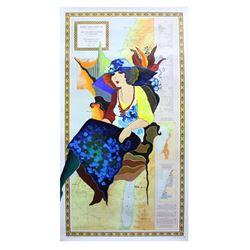 "Patricia Govezensky- Original Acrylic Painting on Nautical Chart ""Holy land"""