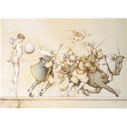 "Michael Parkes ""Returning the Sphere"" Original Hand Pulled Stone Lithographs"