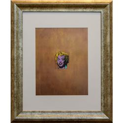 "Andy Warhol- Acrylic, silkscreen ink, gold paint, and spary on linen ""Gold Marilyn Monroe"""