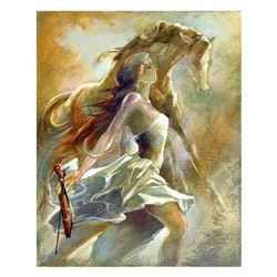 "Lena Sotskova, ""Free Spirit 2"" Hand Signed, Artist Embellished Limited Edition Giclee on Canvas with"