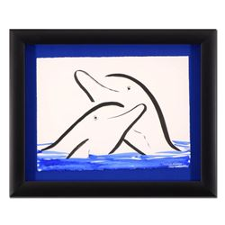 "Wyland - ""Two Dolphins"" Framed Original Sumi Ink and Watercolor Painting, Hand Signed with Certifica"
