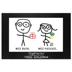 """Nice Package. Nice Bush."" Fine Art Litho Poster (36"" x 24"") by Renowned Pop Artist Todd Goldman."