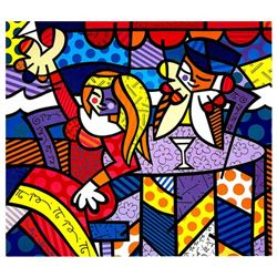 "Romero Britto ""Doing Lunch Again"" Hand Signed Giclee on Canvas; Authenticated"