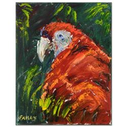 "Elliot Fallas, ""Parrot in Reds"" Original Oil Painting on Gallery Wrapped Canvas, Hand Signed with Ce"